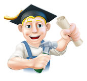 Qualified carpenter. Professional training or learning or being qualified concept. Carpenter with mortar board graduate cap and diploma certificate or other Stock Images