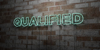 QUALIFIED - Glowing Neon Sign on stonework wall - 3D rendered royalty free stock illustration Royalty Free Stock Photos