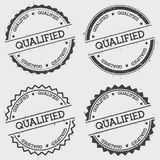 Qualified insignia stamp  on white. Qualified insignia stamp  on white background. Grunge round hipster seal with text, ink texture and splatter and blots Royalty Free Stock Images