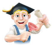 Qualified plumber. A plumber or janitor with mortar board graduate cap with diploma certificate or other qualification. Professional training or learning or Royalty Free Stock Photography