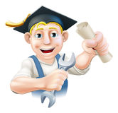 Qualified plumber or mechanic. A plumber or mechanic with mortar board graduate cap with diploma certificate or other qualification. Professional training or Stock Images