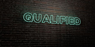 QUALIFIED -Realistic Neon Sign on Brick Wall background - 3D rendered royalty free stock image Stock Photo