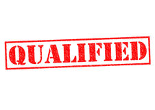 QUALIFIED. Red Rubber Stamp over a white background Royalty Free Stock Photography