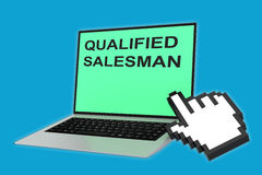 Qualified Salesman concept. 3D illustration of QUALIFIED SALESMAN script with pointing hand icon pointing at the laptop screen Stock Photography