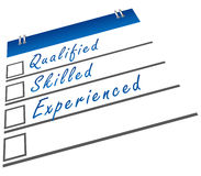 Qualified Skilled Experienced. A checklist image with qualified, skilled and experienced text vector illustration