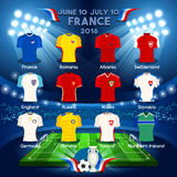 Qualified Teams EURO 2016. France EURO 2016 Championship Infographic Qualified Soccer Players. Football Game Jersey Apparel flags of final participating Stock Photos