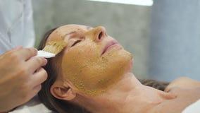 Qualifizierter Cosmetologist, der Maske auf Frauengesicht anwendet stock footage