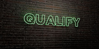 QUALIFY -Realistic Neon Sign on Brick Wall background - 3D rendered royalty free stock image. Can be used for online banner ads and direct mailers Royalty Free Stock Images