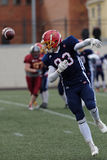Qualifying match of American Football European Championship 2016 Russia vs Norway. Pushkin, Leningrad oblast, Russia - October 10, 2015: Player of team Norway Royalty Free Stock Photos