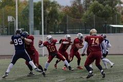 Qualifying match of American Football European Championship 2016 Russia vs Norway. Pushkin, Leningrad oblast, Russia - October 10, 2015: Qualifying match of Stock Photos