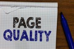 Qualità della pagina del testo di scrittura di parola Concetto di affari per efficacia di un sito Web in termini di indicatore di immagini stock libere da diritti