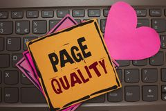 Qualità della pagina del testo di scrittura di parola Il concetto di affari per l'efficacia di un sito Web in termini di aspetto  fotografie stock libere da diritti