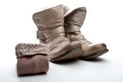 Qualità dello studio delle scarpe di cuoio delle donne di inverno Fotografie Stock