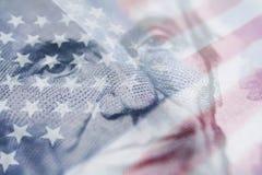 Qualità di Abraham Lincoln With American Flag High immagini stock