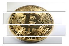Qualità di Bitcoin Art With White Background High dell'oro Fotografia Stock