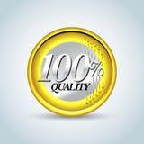 qualità 100% in uno stile di una euro moneta Garantisca l'etichetta, il bollo, l'insegna, il distintivo, progettazione della magl Fotografia Stock