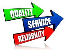 Qualität, Service, Zuverlässigkeit in den Pfeilen Stockbild
