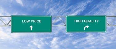 Qualität und niedriger Preis stockbilder