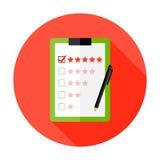 Qualitäts-Kontrollklemmbrett-flache Kreis-Ikone lizenzfreie abbildung