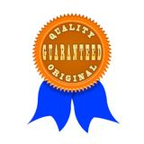 Qualitätsgarantieausweis lokalisiert auf Weiß Stockbild