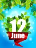 Qualitätshintergrund Helles Plakat am 12. Juni mit den Blumen Stockfotos