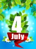 Qualitätshintergrund mit grünen Blättern Helle Blumen des Plakats am 4. Juli und die Wörter, Muster, Design für den Druck Stockfoto