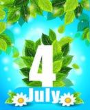 Qualitätshintergrund mit grünen Blättern Plakat des Sommers am 4. Juli Stockbilder