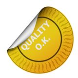 Qualitätskontrolle-Aufkleber Stockbild
