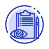 Qualitätskontrolle, Rückstand, Checkliste, Steuerung, Linie Ikone der Plan-blauen punktierten Linie vektor abbildung