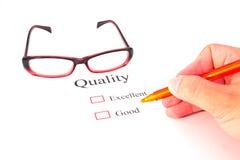 Qualitätsprüfungsnahaufnahme Stockbilder