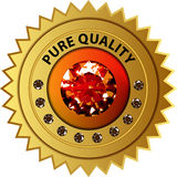 Qualitätssiegel mit Diamanten Stockbild