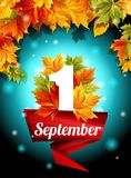 Qualité conception 1er septembre, web design, décoration, vacances, ensemble de calibre Les feuilles d'automne ornent l'affiche V illustration libre de droits