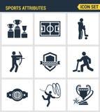 Qualité de la meilleure qualité réglée par icônes des attributs de sports, appui de fans, emblème de club Symbole plat Co de styl Images stock