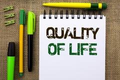 Qualité de vie des textes d'écriture de Word Concept d'affaires pour le bien-être agréable de moments de bon bonheur de mode de v Photos stock