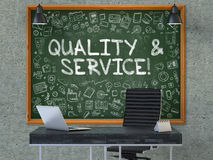 Qualité et service sur le tableau dans le bureau 3d Images stock