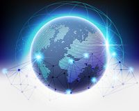 Qualité globale de réseau d'information de bigdata de nuage du monde de Wireframe photographie stock