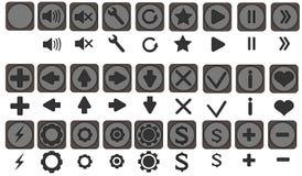 Qualiti symboler ställde in, fulla symboler pac, symboler för apps, leken, den mobila manöverenheten, pilar, framåt baksida, lämn Arkivbilder