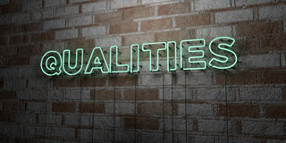 QUALITIES - Glowing Neon Sign on stonework wall - 3D rendered royalty free stock illustration Royalty Free Stock Images