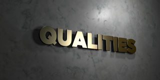 Qualities - Gold text on black background - 3D rendered royalty free stock picture Stock Photos