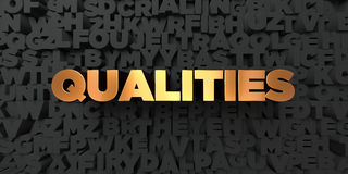 Qualities - Gold text on black background - 3D rendered royalty free stock picture Royalty Free Stock Photo