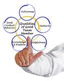 Qualities of Good Member. Qualities of Good team Member stock photography