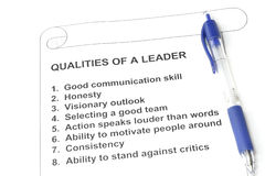 Qualities of a Leader. Concept for human resources and management royalty free stock photography