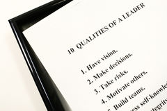 Qualities of a Leader. Leadership Qualities on White Background being frame stock images