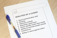 Qualities of a leader. Concept with pen - many uses for management royalty free stock photography