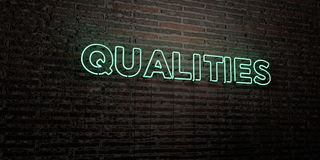QUALITIES -Realistic Neon Sign on Brick Wall background - 3D rendered royalty free stock image. Can be used for online banner ads and direct mailers vector illustration