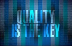 Qualität ist das binäre Zeichenschlüsselkonzept Stockfotografie