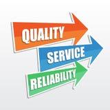 Qualität, Service, Zuverlässigkeit, flache Designpfeile Lizenzfreie Stockbilder