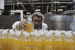 Qualitätskontrollarbeitskraft, die Saftflasche auf Fertigungsstraße überprüft Stockfotografie