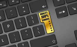 Quality 100% service 5 Stars gold button. Keyboard button warranty quality service key Stock Photo