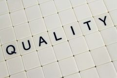 Quality. The word 'quality' in tiles surrounded by blank tiles Stock Photography
